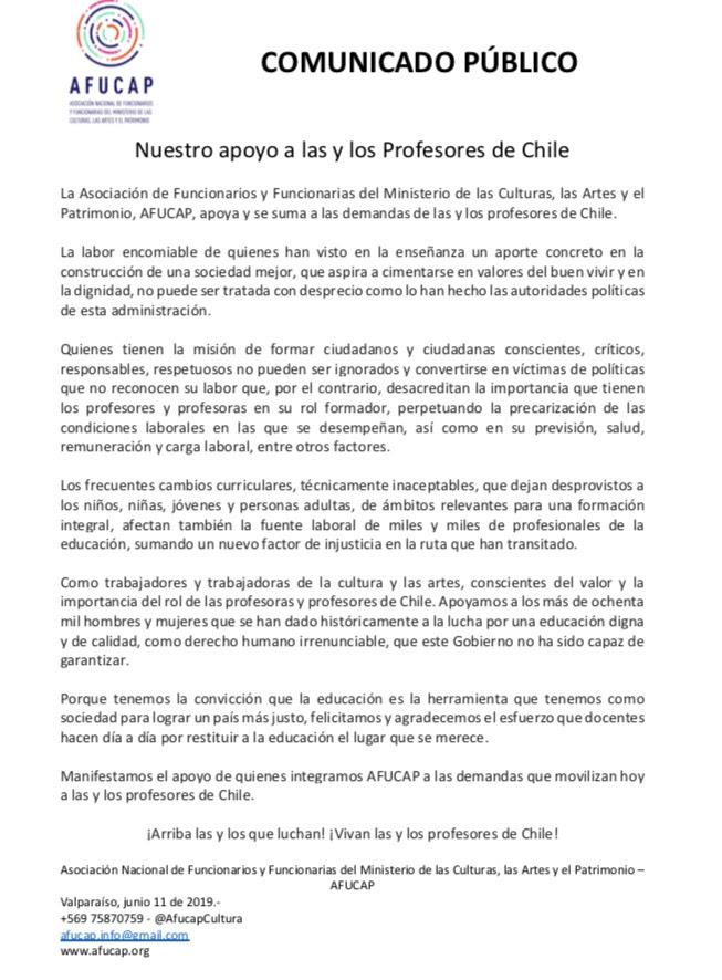 Comunicado Público llamado Nuestro apoyo a las y los profesores de Chile, donde Afucap manifiesta su apoyo a las demandas de Profesores y docentes, en paro desde el 3 de junio de 2019.